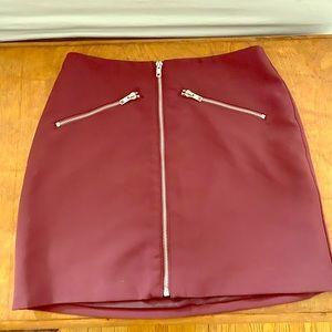 Forever21 - Zipper Skirt - Burgundy - Size Small